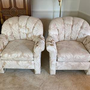 Lot # 24- Like New Two Matching Custom Occasional Chairs by Krause's.