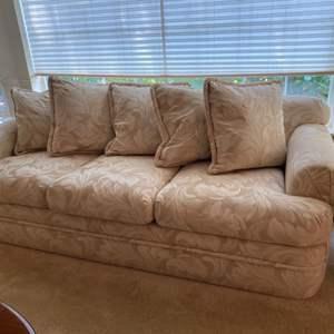 "Lot # 26- Like New Cream Color Sofa 87"", Matches lot 24 & 25"