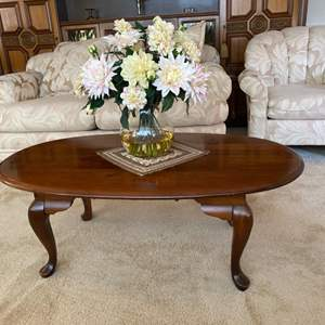 Lot # 27- Queen Anne Cocktail Table with Nice Faux Floral Decor.
