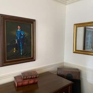 "Lot # 29- ""The Blue Boy"" Canvas Print 25""x 31"", Gold Framed Beveled Mirror 22x25"", Decorative Storage (books)."
