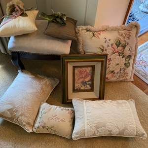 Lot # 32- Bombay Company Footstool, Accent Pillows, Frame.