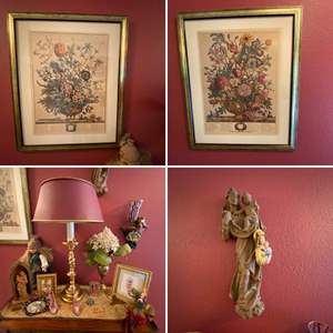 """Lot # 36- Wall Decor & Curios: Floral Pictures are 18"""" x 22"""", Brass Lamp w/Metal Shade, Collectible Doll."""