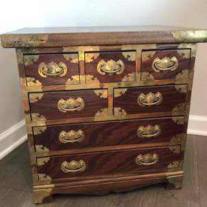 """Lot # 39- Japanese Ornamental Side Cabinet/End Table, 7 Drawers, 20"""" x 19h x 15"""" Brass Detail. Matches lot 38."""