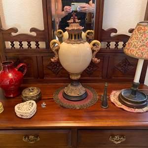 Lot # 42- Interesting Ceramic & Wood Urn, Pottery Vase, Candlestick Lamp, Trinket Boxes, Doily.
