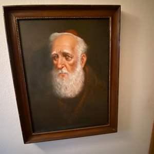"""Lot # 44- Framed Monk, Vintage Canvas Transfer. 22"""" x 28"""""""