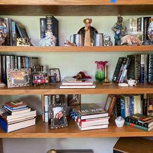 Lot # 48- Porcelain and Ceramic Collectibles, Curios, Hardback Books, Everything on these Shelves.