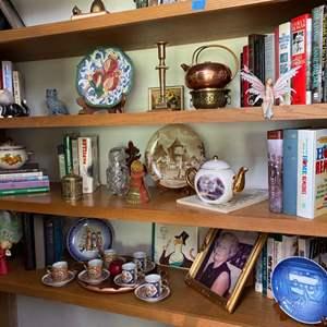Lot # 49- Everything on Three Shelves: Doodads, Tchotchkes, Collectibles, Hardback Books.