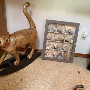 Lot # 50- Purrfectly Darling Shadow Box filled with Kitty Miniatures,  Wood Decorative Rocking Kitty.