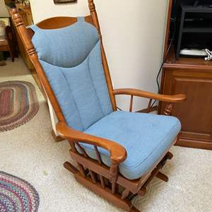 Lot # 55- Nice Maple Wood Glider Chair with Cushions.