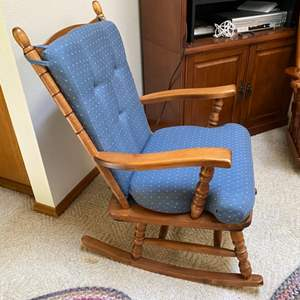 Lot # 56- Hardwood Colonial Rocking Chair with Cushions.