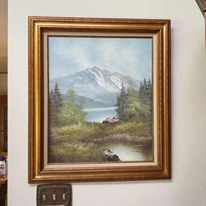 Lot # 57- Original Mountain Scene Painting, Signed unlegible.