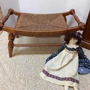 Lot # 58- Vintage Wicker Footstool, Farmhouse Doll.