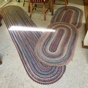 Lot # 59- Authentic Braided Floor Rugs, Reversible, Look Clean, In Good Cond. Some part has separated. Sizes in Pics.
