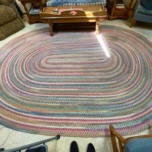 """Lot # 60- Huge Flat Braided Floor Rug, Matches Previous Lot, 135"""" x 95""""."""