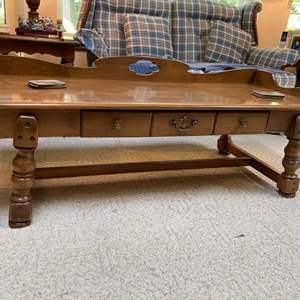 Lot # 61- Quality Made Early American Maple? Coffee Table, Coasters.