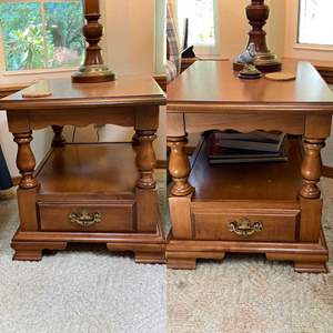 """Lot # 63- Two Matching Early American End Tables, Maple,  21 x 27 x 22""""h"""