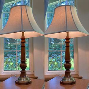 Lot # 64 - Two Matching Early American Wood with Brass Lamps.