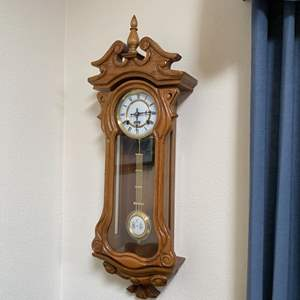 """Lot # 65- 31 Day Vintage Pendulum Chiming Wall Clock, 30"""" long. It has not been used in a while."""