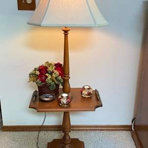 Lot # 66- End Table With Table, Candles and Decorations.