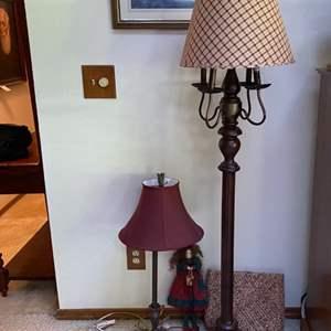 Lot # 69- Farmhouse Looking Floor Lamp, Table Lamp, Doll, Wicker Clutch.