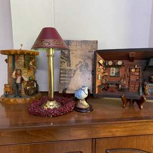 Lot # 71- German Wax Candle, Vintage German Diorama Shadow Box Hand Painted & Carved, and More.
