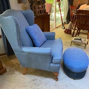 Lot # 72- Schoenfeld's Wingback Chair, Pouf Fringed Ottoman.