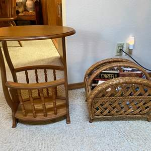 Lot # 73- Sturdy Wicker Magazine Rack, Wobbly Small Table with Mag Rack, Books.