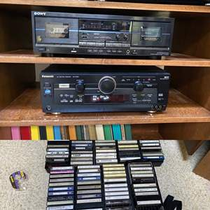 Lot # 82- Sony Stereo Cassette Deck, Panasonic Receiver, All in Working Cond.  Taped Cassettes.