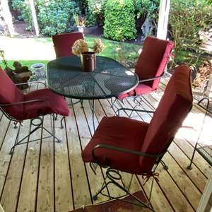 """Lot # 84- Vintage Green Metal Patio Spring Chairs (4) with Cushions, Table is 49 x 34 x 30""""h - Metal Color is Green."""