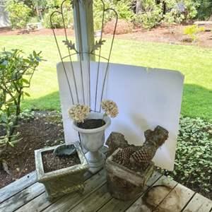 "Lot # 87- Vintage Metal Trellis 60""x24"", Two Resin Flower Pots, Stump made into a Flower Pot, Bronze/brass Ashtray."