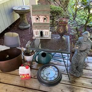 "Lot # 89- Vintage Metal Small Table, 25"" Resin Statue, Wood Birdhouse."
