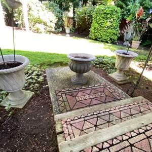 "Lot # 90- Three Resin Flower Pot Urns 17"", Metal Birdbath and Stake Yard Decor."