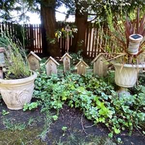 Lot # 92- Wood Birdhouse Yard Art, Two Resin Flower Pots, Metal Stake.