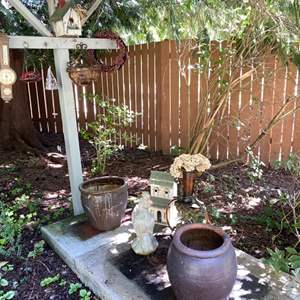 Lot # 93- Concrete Rooster, Two Heavy Ceramic Pots, Birdhouse and other Misc. Yard Decor.