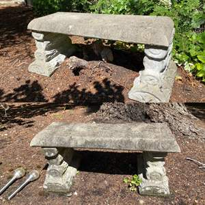 "Lot # 94- Set of Two Concrete Garden Benches 36""L x 17"" x 17"", Heavy!"