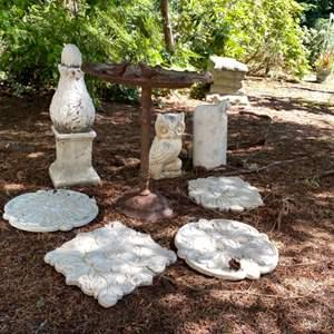 Lot # 95- Vintage Metal Birdbath, Ceramic Floral Plaques, Ceramic Owl, Sheep, Obelisk.