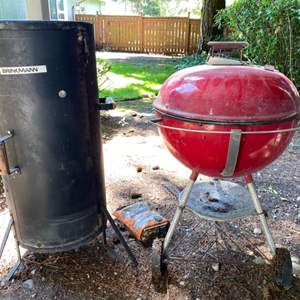 Lot # 98- Brinkman Smoker, Weber Grill. They were covered and have not been used in a long time.