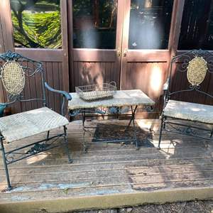 Lot # 99-  Very Vintage Metal and Rattan Folding Outdoor Chairs and Table, Tray.
