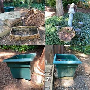 Lot # 100- Flower Pots, Old Wicker, Resin Statue, Cement Pavers and More. Pickers Lot, Take what you want.