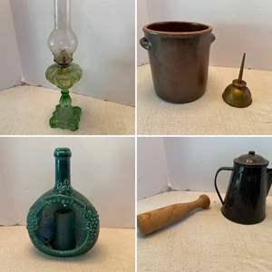 Lot # 102- Antique Vaseline Glass Oil Lamp, Frankenland Ceramic, Jug, Wood Muddler?