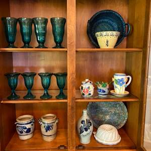 Lot # 108- Colorful Vintage Glassware, Pottery Jugs & Vases, Mixing Bowl, Mold, Etc.