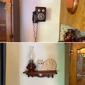 Lot # 109- Western Electric Wood Phone (wired in wall), Country Shelf, Wood Kitty, Wood Hurricane Lamp.