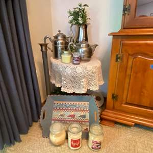 """Lot # 110- Antique Tin Plated Copper Teapot, 8.5"""" & 12"""" Victorian Rochester, Candles, Wood Tray, 26"""" Candlestick, More Decor."""