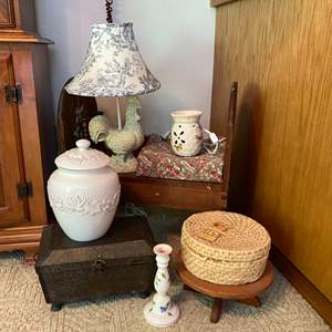 Lot # 111- Country Home Decor: Vintage Painted Bench, Ceramics, Rooster Lamp, Basket, Trunk.