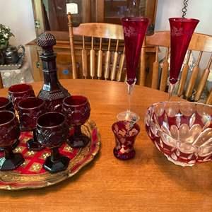 "Lot # 112- Avon Cranberry Glass Mini Goblets & Decanter (Cape Cod), 12"" Wood Italian Platter, Candy Dish, Champagne Flutes."