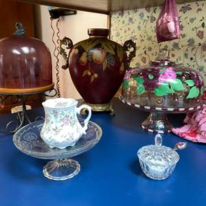 Lot # 115- Glass Covered  Pedestals, English Bone China Cup, Urn Vase, Crystal Sugar Dish w/spoon, Pressed Glass Pedestal.