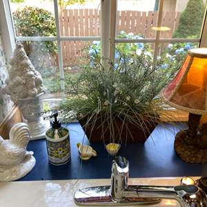 Lot # 116- Ceramic White Rooster and White Fruit Topiary, Accent Lamp, Faux Plant and More.