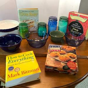 Lot # 117- Colorful Glass Pantry Canisters, Blue Anchor Mixing Bowls, Ceramic Bakeware, Cookbooks.