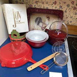 Lot # 119- French Made Staub Cast Iron Pot, Threshold Everyday Cast Iron Skillet, Stoneware Mixing Bowls, Glass Rooster Board +