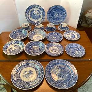 """Lot # 120- Spode """"The Blue Room"""" Four of Each: Dinner Places, Bowls, Small Plates, Cups, Saucers."""